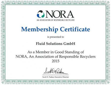 NORA Membership Certificat